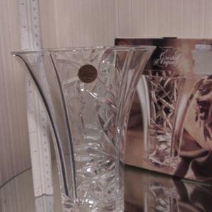 """7"""" tall Lead Crystal Vase.  NIB"""